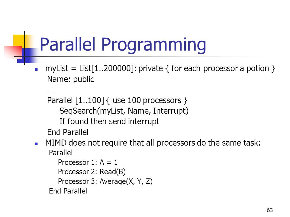 Parallel Programming myList = List[1..200000]: private { for each processor a potion } Name: public.